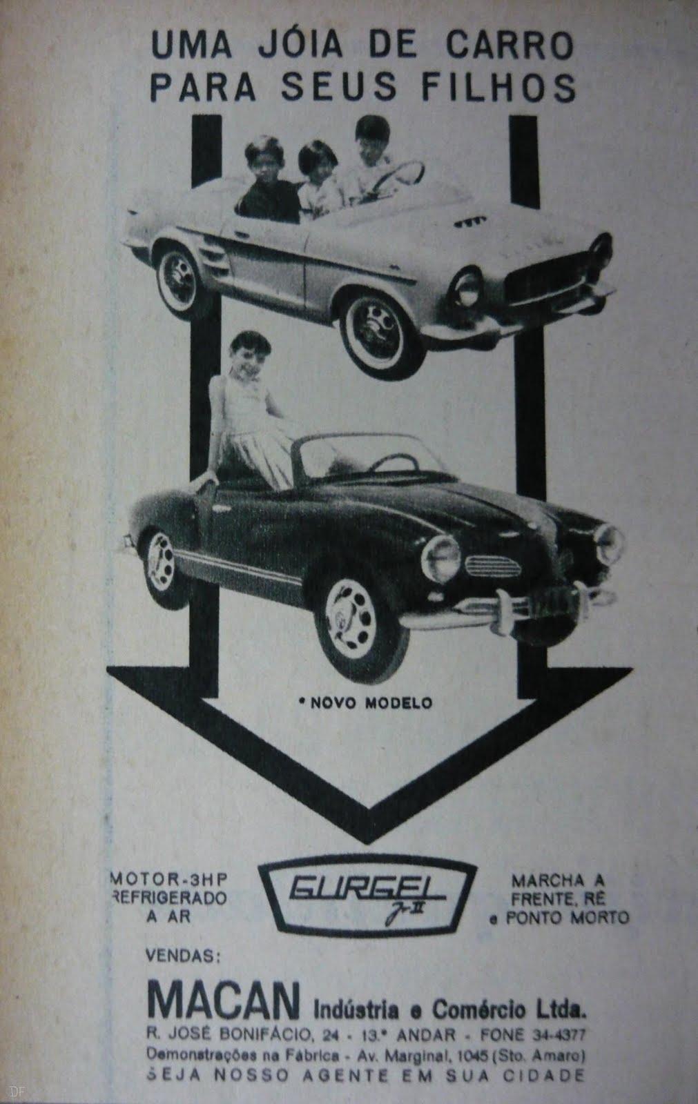 Anúncio na revista 4 Rodas de Dezembro de 1965, edição 65, página 122 / Fonte: http://fuscaclassic.blogspot.com.br/2011/11/vw-o-pequeno-karmann-ghia-gurgelii.html