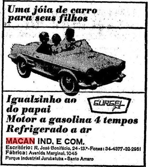 Macan Gurgel Jr. II anunciado no Jornal Estado de São Paulo de 08/07/1965 - Fonte: Acervo Digital do Jornal O Estado de SP - http://acervo.estadao.com.br/pagina/#!/19650708-27674-nac-0010-999-10-not/busca/MACAN