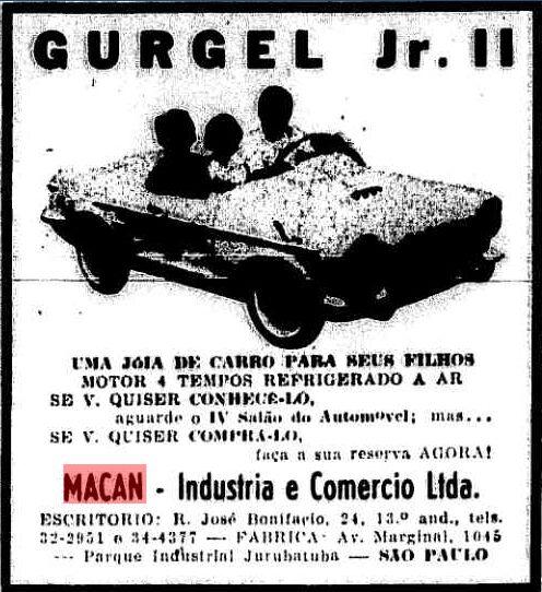 Macan Gurgel Jr. II - Anúncio no Jornal O Estado de São Paulo de 12/11/1964 - Fonte: Acervo digital do Jornal O Estado de São Paulo, pág. 9 - http://acervo.estadao.com.br/pagina/#!/19641112-27474-nac-0009-999-9-not